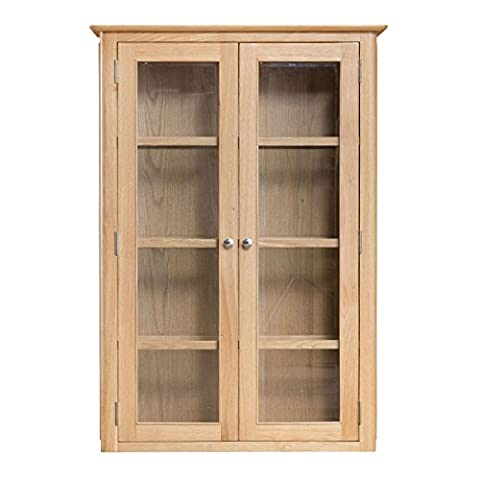 Stockholm Natural Oak Finish 2 Door Sideboard Hutch / Scandinavian Style Glass Fronted Cabinet with Lights / 2 Handle Choices