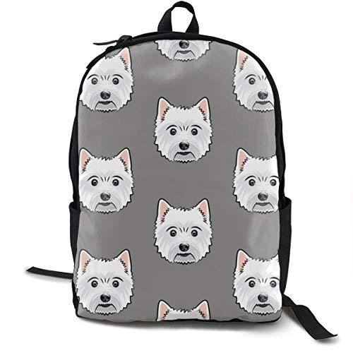 Westie - West Highland White Terrier - Dogs On Grey Adult Premium Travel Backpack, Water-Resistant College School Bookbag, Sport Daypack, Outdoor Rucksack, Laptop Bag for Men&Women