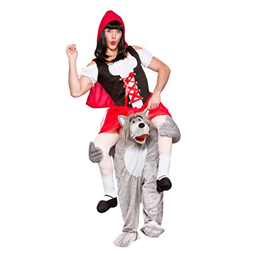 Adults Carry Me Wolf With Little Red Riding Hood Costume Mascot Fancy Dress Up