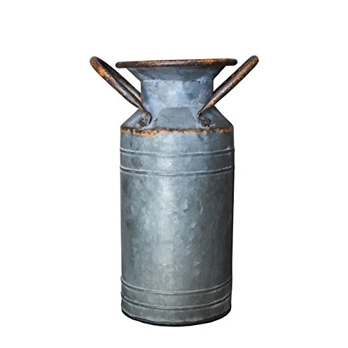 R.E.D Old Fashioned Rustikaler Stil Groß verzinktem Milch Kann Farmhouse Übertopf Vase mit Griffen