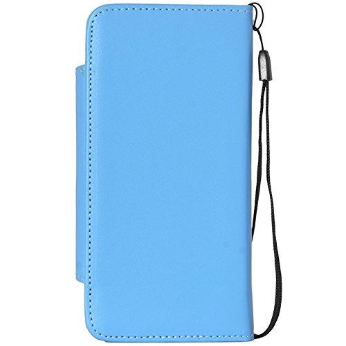 Phone case & Hülle Für iPhone 6 Plus / 6S Plus, 2 in 1 separaten Wallet Style Magnetic Flip PU Ledertasche mit Lanyard ( Color : Black ) Blue