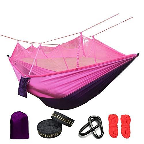 CHENAHNG Hängematte Ultraleichtes Moskitonetz Und Anti-Mückengefänge, Camping-Zelt Im Freien Mit Schlaf-Freier Lila Und Rosa