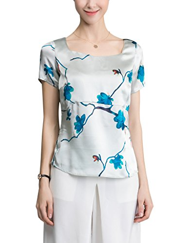 Floral Square-neck (Sticky Fingers Ladies Short Sleeve Square Neck Floral Print 102% Silk Shirt UK 12/EU 38)