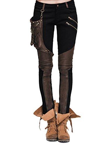 Devil Fashion Steampunk Damen Hose Mit Eins Leder Tasche Gothic Bleistift Hosen Weinlese Stitching Leggings (XL, Schwarz und braun) (Frauen Für Steampunk)