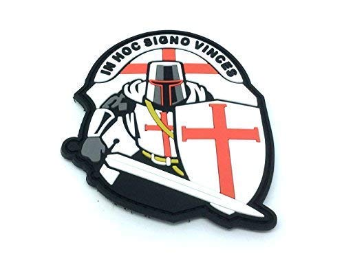 Crusader 'In Hoc Signo Vinces ' Knights Templar Morale Patch PVC Airsoft Paintball Klett Emblem Abzeichen