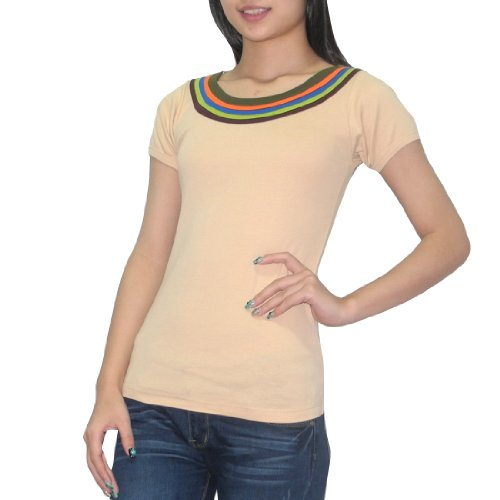 Womens Thai Exotic Fashion Casual Short Sleeves Bluse Top Beige