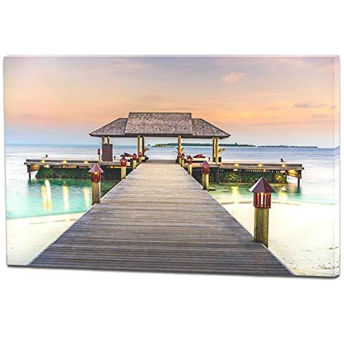 Banberry Designs Ocean Decor - Dock Path to Sea - LED strahlend beleuchteter Leinwanddruck mit Tiki Hütte und Ozean - Meereslandschaft Wandbilder -