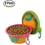 wangstar Colapsable Tazón para el perro, plato plegable extensible Alimentación Copa de silicona de grado para el perro de animal doméstico del gato, juego de 2 (rosado+verde)