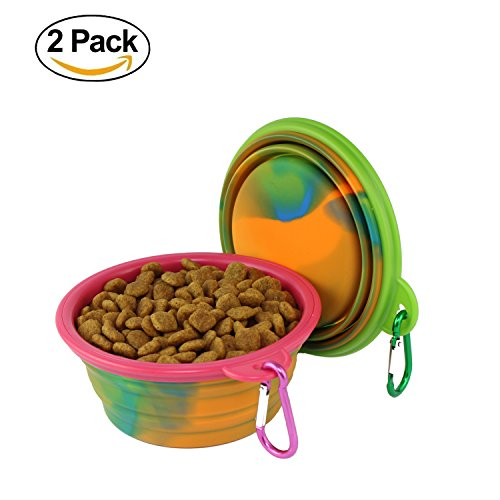 wangstar Pieghevole ciotola del cane, pieghevole espandibile Food Grade Silicone Coppa del piatto per Pet Cat Dog, set di 2 (verde+rosa)