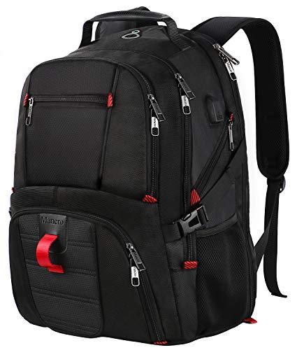 Laptop-Rucksack, Extra große College-Schule Rucksack für Männer und Frauen mit USB-Ladeanschluss, TSA freundlich wasserdicht Business Rucksack Tasche Fit 17-Zoll-Laptops Notebook, schwarz MEHRWEG