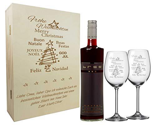 laser-diele Graviertes Geschenkset zum Weihnachtsfest aus 2 Weingläsern, Weinflasche und Einer...