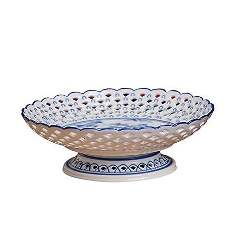 Blue-and-white round pierced fruit plates landscape creative home fruit basket