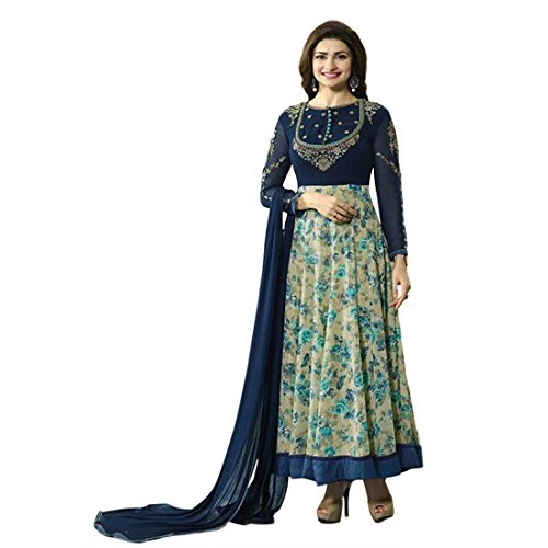 Anarkali ( Shoponbit Blue colour Georgette Embroidered With Flower Print semi stitched party wear Anarkali Suit )