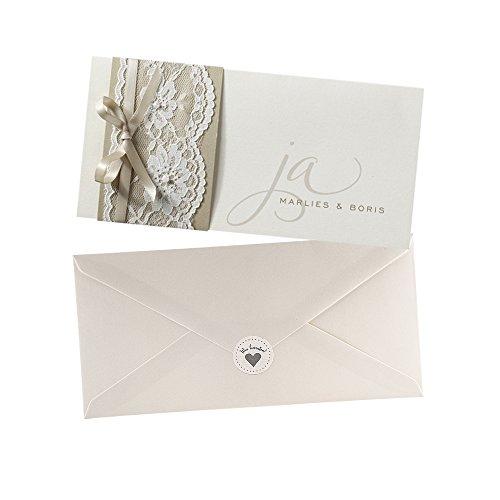 Einladungskarten Marlies Zur Hochzeit, Creme, Spitze, 3 Stück Blanko  Hochzeitseinladungskarten Mit Umschlag Und Weddix Siegeletikett