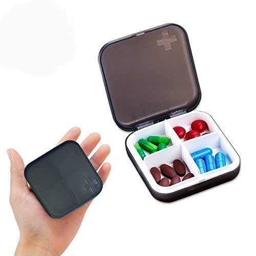 Zoiibuy Tablettenbox Pillendose Wasserdichter Pillenbox Tablettendose mit 4 Fächern für Geldbeutel oder Tasche für Reise und täglichen (Schwarz)