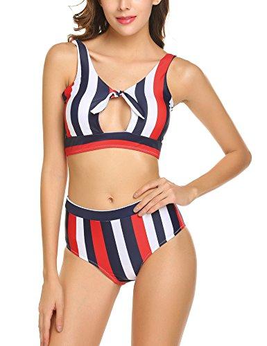 Bikini Damen Badeanzug Neckholder Swimsuit Neu Fashion Schwimmanzug Sexy Bademode Schalen Schlankheits Badeanzug Rot S