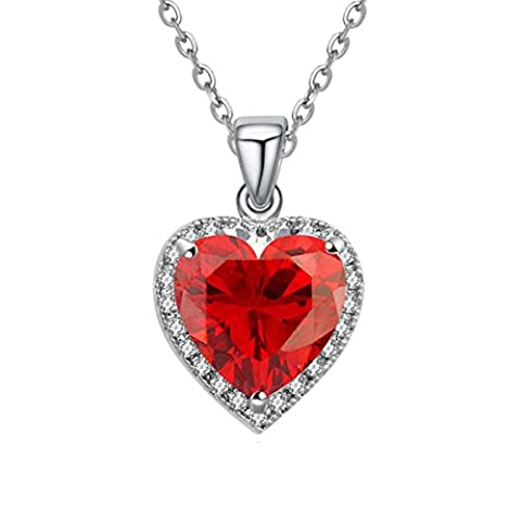 Mme Main Micro Pave CZ Coeur Ombre Collier Avec Pendentif Coeur,Red-OneSize