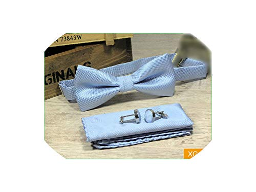 Solid Yellow Gold Silk Bow Ties For Men Match Bowtie Pocket Square And Cufflinks 3Pcs Set,Xg05 Sky Blue Mens Tie
