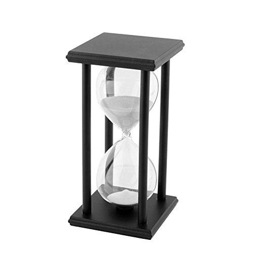 SODIAL(R)60 Min Schwarz Holz weiss Saender Sanduhr Stundenglas Zeitschaltuhr Haus Dekor