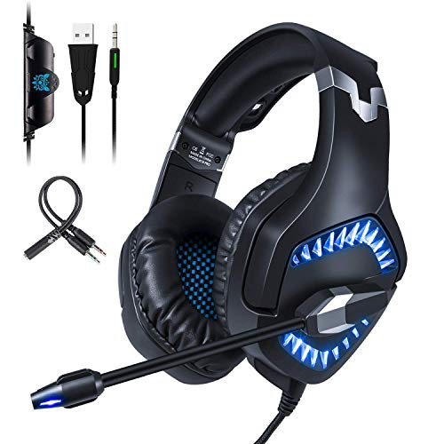 Qingta Gaming Headset K1, 3,5 mm Stereo-Sound, komfortable Kopfhörer mit LED-Licht, Geräuschunterdrückung, Headset mit Mikrofon für PS4, Xbox One, Laptop, PC, Mac, Smartphone, Blau - Creed Mac Assassins 1