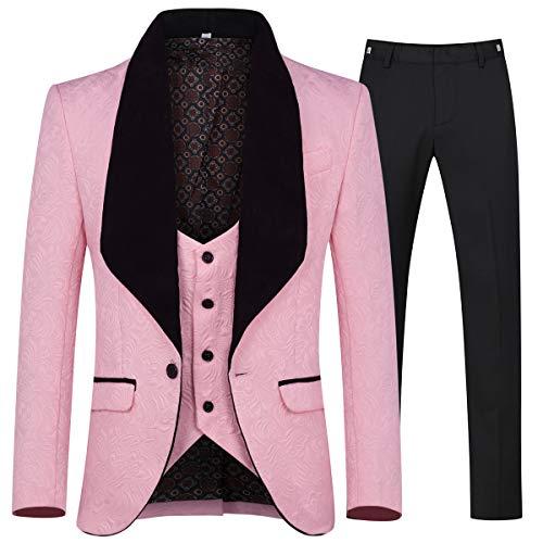 YFFUSHI Herren 3-teiliger Anzug Slim Fit Jacquard Smoking EIN-Knopf Schalkragen Jacke Weste & Hose - rosa - XL (Rosa Anzug Jacke Herren)
