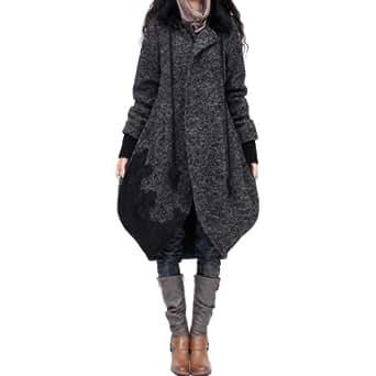 Artka Women's Embroidery Patchwork Loose Woolen Coat, Grey, L