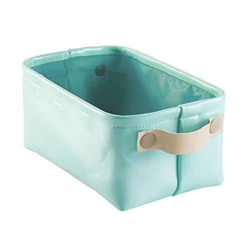 InterDesign 62380EU Remy Aufbewahrungsbox aus Veganem Lackleder für Bad, Klein, Plastik, Minze/Gold, 31.75 x 18.288 x 15.24 cm