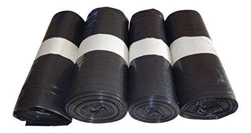 4 rotoli di sacchi della spazzatura in LDPE (polietilene a bassa densità) da 700 x 1100 mm, tipo 60, capacità: 120 litri, Nero