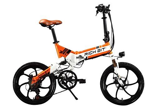 Bicicletta elettrica pieghevole uomo/donna da strada modello RT730 250W* 48V* 8Ah 20\'\' cm a doppia sospensione, 7 marce, deragliatore Shimano, batteria LG, doppio freno a disco in lega di magnesio