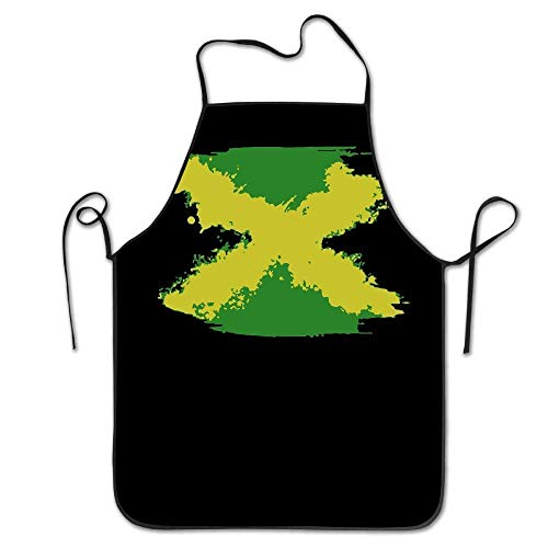 xcvgcxcvasda Einstellbare Latzschürze mit Tasche, Splashing Jamaican Flag Women Men Kitchen Bib Schürze Flower Shop Tea Shop Adjustable Neck Chef's Schürze 28.3