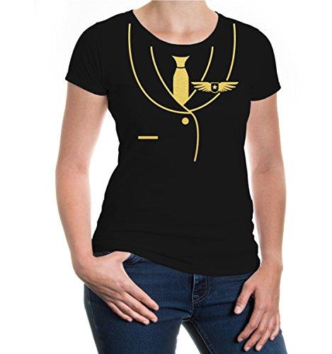 buXsbaum® Damen Kurzarm Girlie T-Shirt bedruckt Flugzeug-Dress | Karneval Fasching Kostüm | XXL black-gold Schwarz (Tee Flugzeug T-shirt)