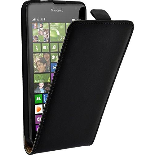 PhoneNatic Kunst-Lederhülle für Microsoft Lumia 535 Flip-Case schwarz + 2 Schutzfolien