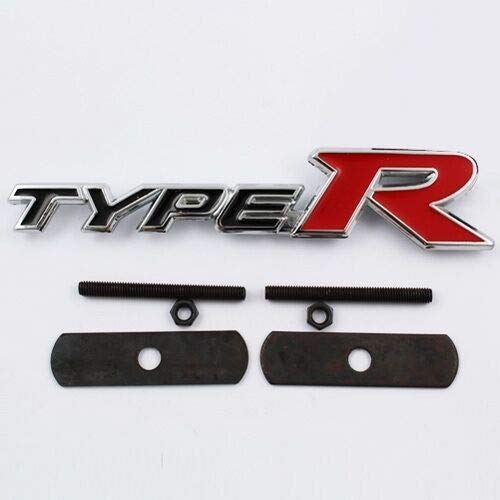 Chrom and Rot Type R 140mm x 30mm Metall Front Grill Bonnet Abzeichen Aufkleber Emblem Für Civic Accord Integra Prelude (Accord Type R Emblem)