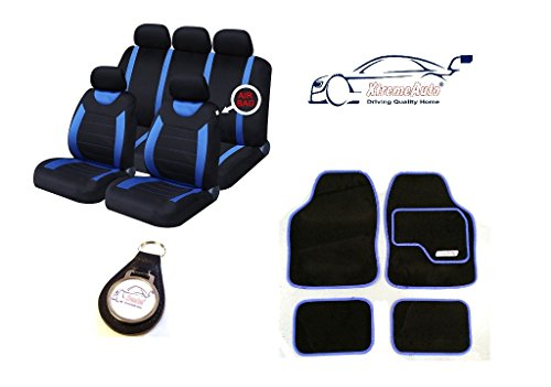 XtremeAuto® 9 PCE Sports Carnaby Blue / Black Seat Covers + Matching Mat Set Complete with Keyfob
