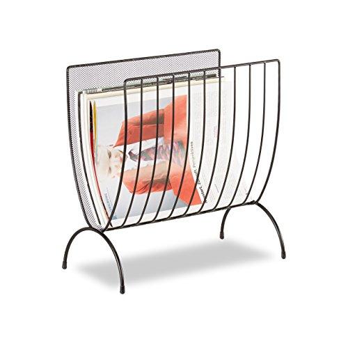 Relaxdays Zeitungsständer Metall, Zeitungshalter stehend, Zeitschriftensammler schwarz, HxBxT: 35 x 34 x 18 cm, black