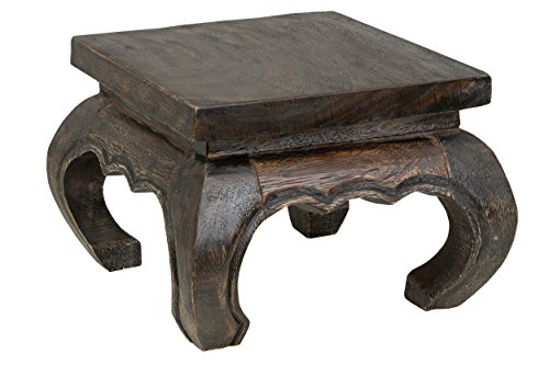 Kleiner Opiumtisch 20x20x25 cm Massivholz Handarbeit, dunkel. Als Beistelltisch, Hocker oder Tisch für Pflanzen. (Schnitzerei Asiatische)