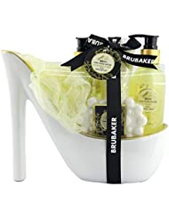 BRUBAKER Luxus Vanilla Spa Beautyset - 6 tlg. Bade Geschenkset in Keramik Stiletto Weiß Gold