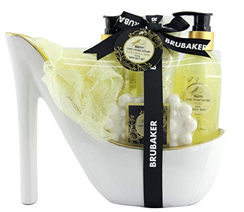 BRUBAKER Luxus Vanilla Spa Beautyset - 6 tlg. Bade Geschenkset in Keramik Stiletto Weiß Gold -