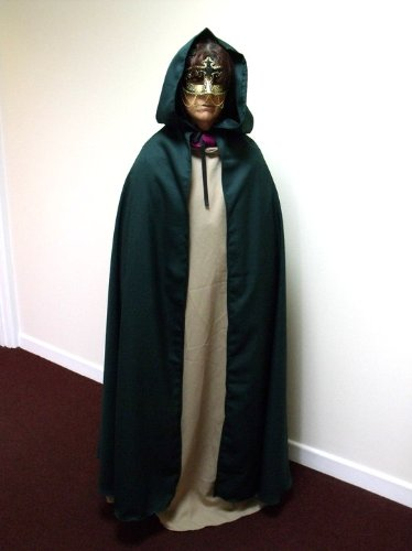 Halloween Kostüm Arwen - Dark Green Polyester Twill Adult Cloak - Legoslas/Frodo/Lord Of The Rings/LOTR/Pirate/Arwen/Pagan/Halloween