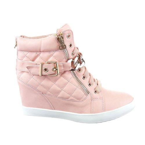 Sopily - Zapatillas de Moda Deportivos Plataforma Tobillo mujer zapato acolchado Talón Plataforma 8 CM - plantilla textil - Rosa WL-1018-10 T 38 - UK 5