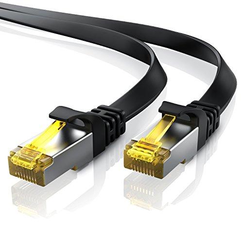 15m CAT 7 Netzwerkkabel Flach - Ethernet Kabel | Gigabit Lan 10 Gbit/s | Patchkabel - Flachbandkabel - Verlegekabel | Cat.7 Rohkabel U/FTP PIMF Schirmung mit RJ 45 Stecker | Switch Router Modem - 10 Gbit-ethernet-kupfer
