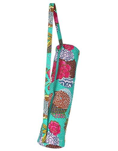 Sacs en toile de fruits Imprimé Kantha travail Cotton Yoga Sac Emerald Green & Dark Pink