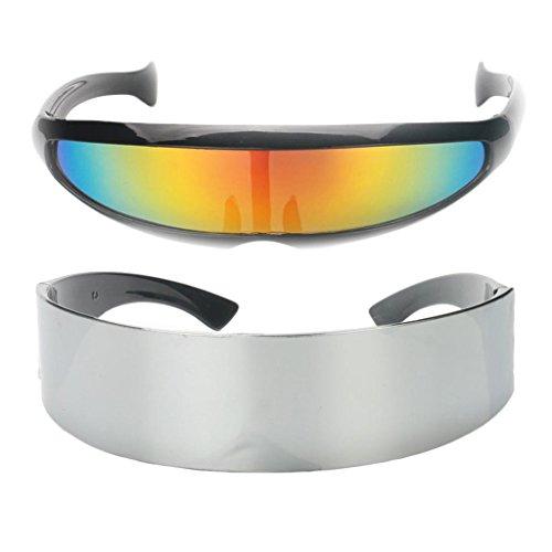 D DOLITY 2 Stü Schmale Metallische Futuristische Soldat Space Alien Robot Sonnenbrille
