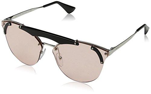Prada Damen 0PR53US 1AB4Q0 42 Sonnenbrille, Schwarz (Silver/Black/Light Pink)