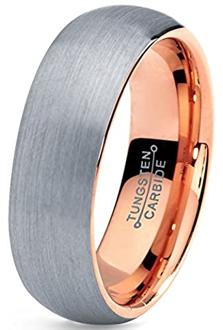 Tungsten Wedding Band Ring 7mm for Men Women Comfort Fit 18K Rose Gold Plated Domed Brushed Lifetime Guarantee Size Z