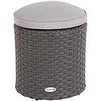 Pouf in rattan - Per interni ed esterni - Colore: GRIGIO ferro