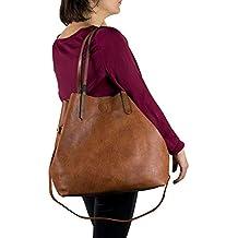 6e95a24e8e Emila Borsa shopping donna a spalla grande capiente color cuoio tipo bag  con bosello borsellino e