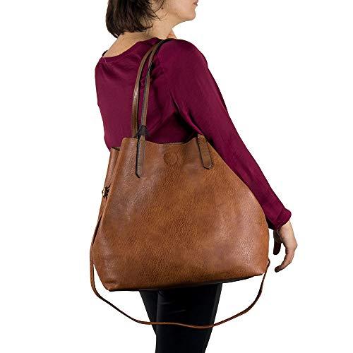 Emila Borsa shopping donna a spalla grande capiente color cuoio tipo bag con bosello borsellino e tracolla tre pezzi 3 shopper in Pelle PU Cuoio