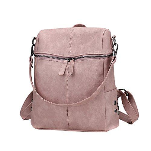 Skang Deman Rucksack Handtasche Backpack Große Kapazität PU-Leder Mit Reißverschluss Lässiger Daypacks Schüler Bag Schultaschen Für Reisen(Einheitsgröße,Rosa)