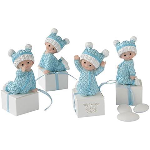 Mopec ZP2810.3 - Figuritas de bebé niño vestidas para dormir con 3 peladillas, pack de 12